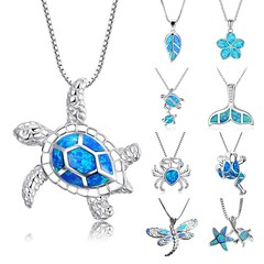Arrival Cute Silver Filled Ocean Beach Jewelry Blue Opal Sea Turtle 1PC Allergy Free Adjustable