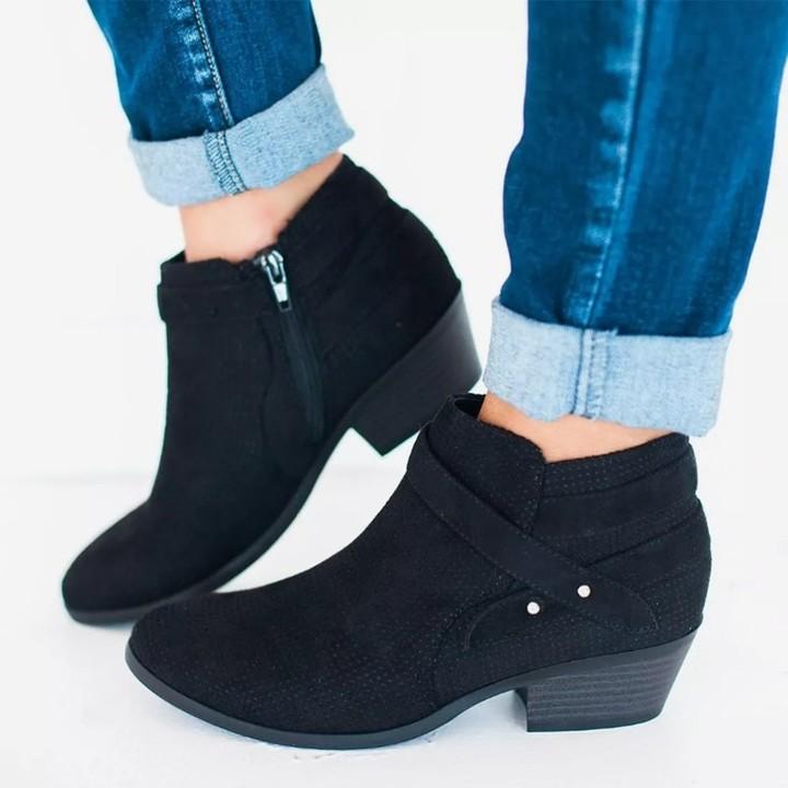 Size Medium Heels Women Ankle Boots Cut Outs Side Zipper Belts 2018 Autumn Female Shoes Casual Eu