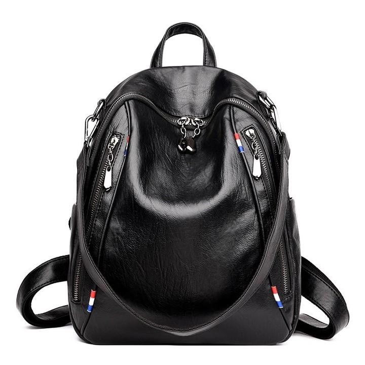 3d9ee08d9dd7 Leather Backpack Female Zipper School Bags for Girls Designer Brand Shoulder  Bag for Women 2018 L