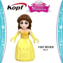 Single Sale Princess Series F010 -017 Action Belle F018-025 Beast Anna Mulan Model Building Block