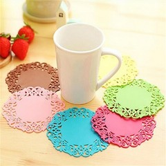 pcs/Lot Lace coaster Cup placemat PVC mat for mugs Tea Zakka table decoration Office accessories