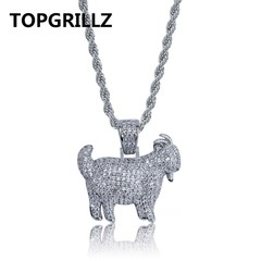 Shiny Trendy Goat Animal Pendant Necklace Charms For Men Women Gold Silver Color Cubic Zircon Hip silver Rope Chain