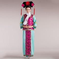 Traditional Cheongsam Kimono for Women Cosplay Performance Clothing Qipao Satin Long Dress 4PCs E