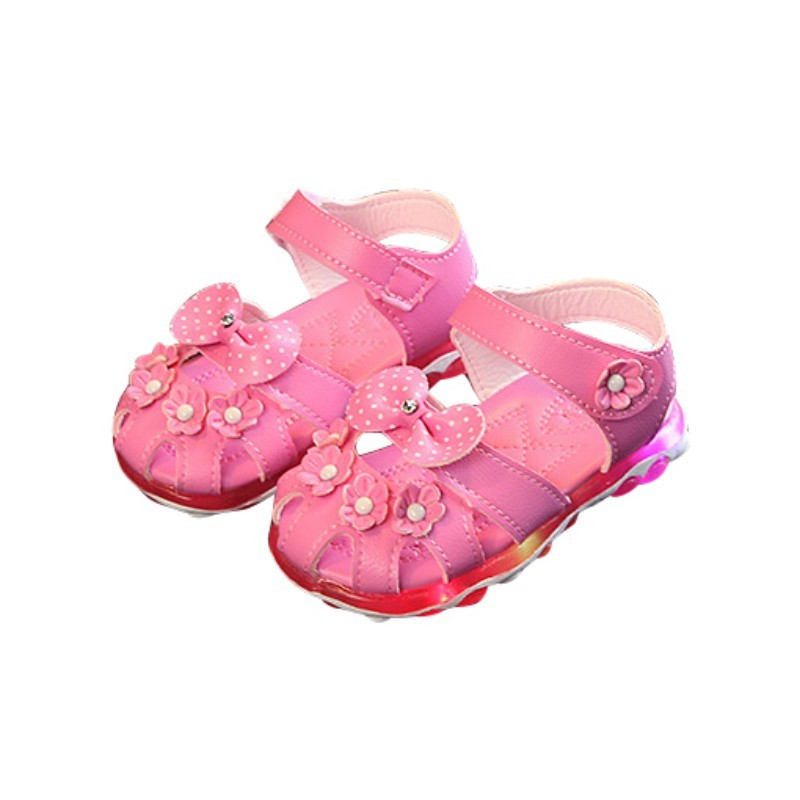 1041a70fd6e6f Baby Girls Shoes PU Flower Shoes Non-slip LED Lighting Kids Girl ...