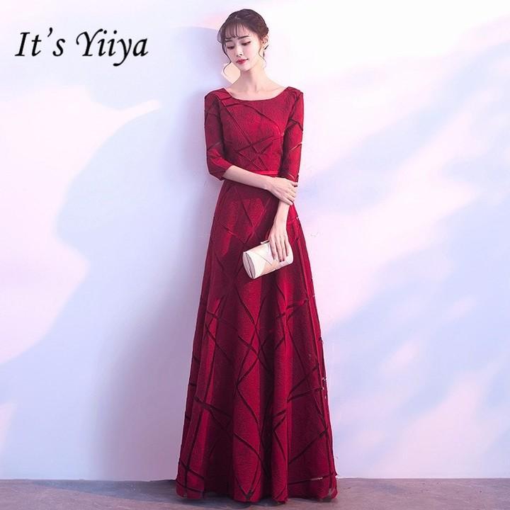5b0a3beb3dfab YiiYa Vintage Wine Red Prom Gowns Elegant O-neck A-line Formal Dresses H076