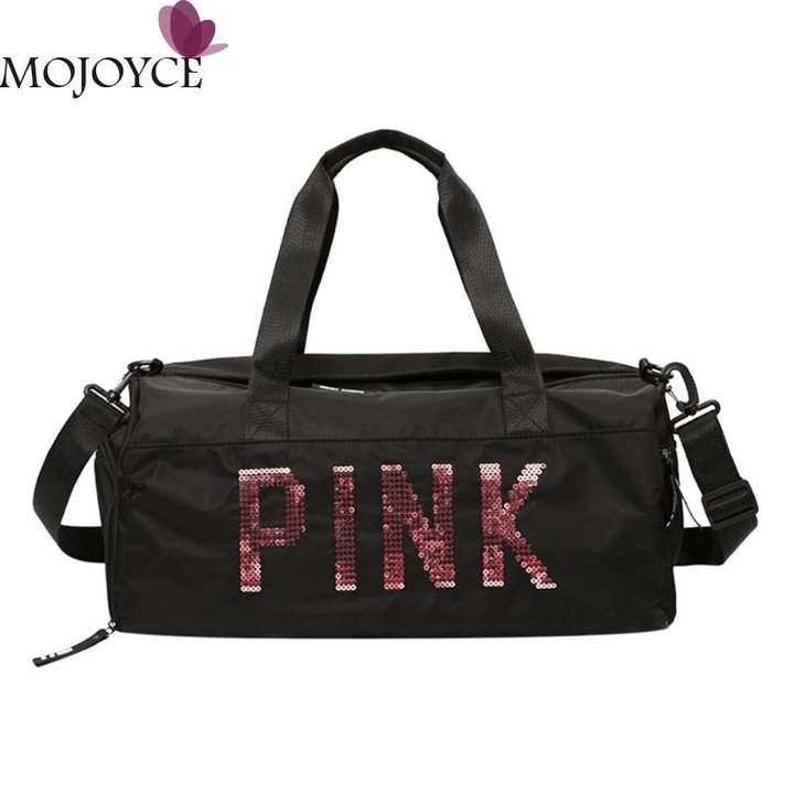 56558db78d0 Black Travel Bag Pink Color Sequins Shoulder Bags Women Portable Nylon  Waterproof Handbags Large