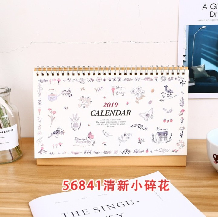 Calendar 2019 Year Cute Landscape Creative Desk Standing Paper Multifunction Organizer Schedule Planner Notebook New Cartoon Calendar