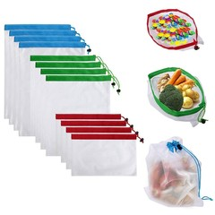new fashion 12Pcs Reusable Produce Storage Bags Washable Mesh Bag Grocery Shopping Bag for Fruit/