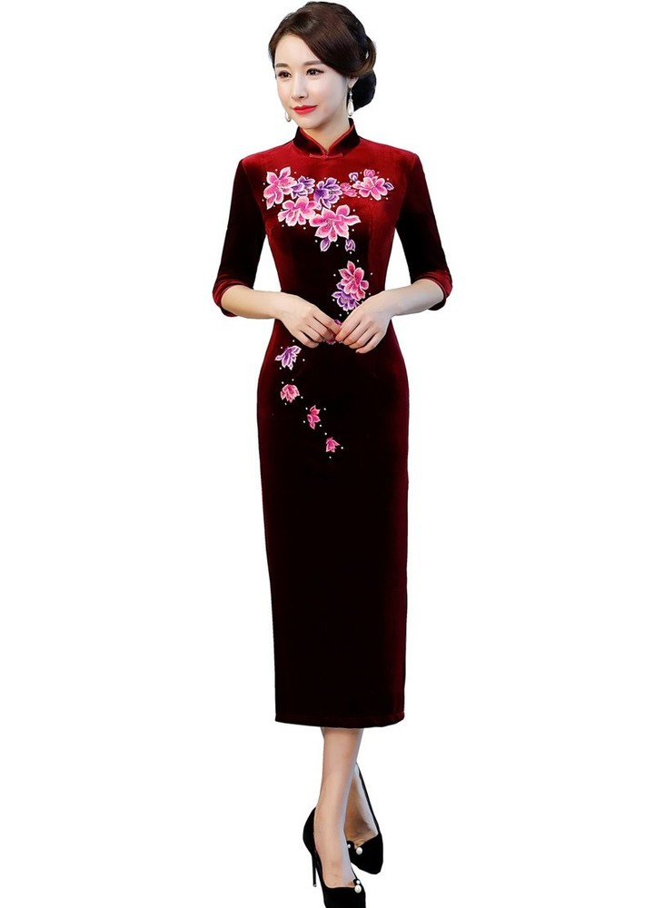 49b7c74a9640 Story 2018 Half Sleeve Floral Embroidery Qipao Long Velvet Cheongsam Dress  Womens Chinese Traditi