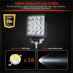 4 inch 48W LED Work Light Floodlight Spotlight LED Offroad Lamp Worklight for Lada Off road ATV M