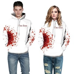 couple with digital print long sleeve hooded sweater Horror Wound 3d  Men Women Plus Size Cosplay
