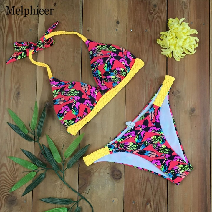 d2d1ccd2be Weave Bandage Bikini Women Push Up Swimsuit Leaf Print Brazilian Bikinis  Set Sexy Bathing Suit Be