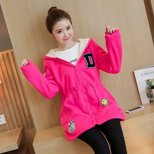 6b853fdf939 Velvet Sports Hoodie Winter Maternity Jacket Outwear Sweatshirts Fleece Clothes  for Pregnant Warm