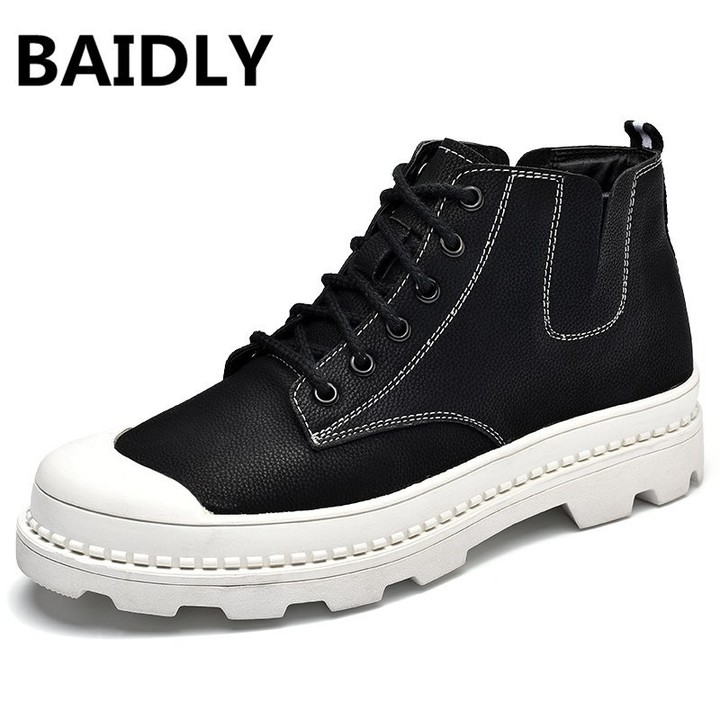 42d75ff38e4e0 Genuine Leather Men Boots Oxfords Casual Shoes Autumn Winter High Top Boots  Breathable Winter War