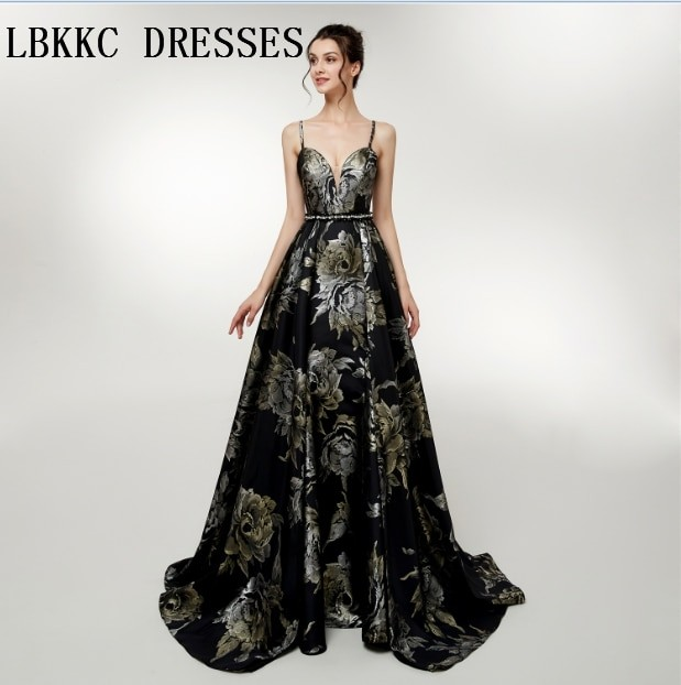newest 6b3f5 b5474 De Soiree Black A Line Evening Dresses With Floral Print Spaghetti Straps  Abiti Da Cerimonia Da S