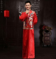 arrival male red cheongsam Chinese style costume the groom dress jacket long gown traditional Chi