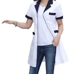 Nurse Short Sleeved 2 Colors(red Collar/dark Blue Collar) Lab Coat Pharmacy Doctor Overalls Unifo
