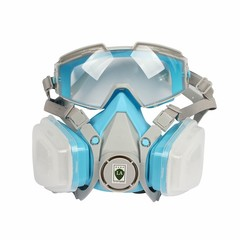 Face Gas Mask Cartridge Respirator Assembly Organic Vapor Safety Mask With Anti-Fog Goggles For P as pic