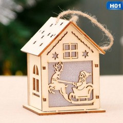 Festival LED Light Wood House Christmas Tree Hanging Ornaments Holiday Nice Xmas Gift Wedding Dec
