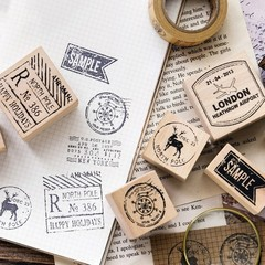 Vintage Stamps Series Boxes Wood Stamp Scrapbook DIY Photo Album Card Decoration Craft Wooden Rub