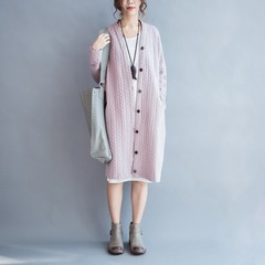 Size Maternity Women Open Coat Cotton Cardigan Solid Vintage Casual Outerwear Long Trench Winter