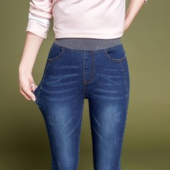 2018 Autumn New Plus Size Jeans Pants Women Elastic Waist Trousers Ladies Vintage Pencil Slim Ski