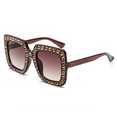 Designer Ladies Oversized Square Women Sunglasses Women Diamond Frame Mirror Glasses Female Goggl