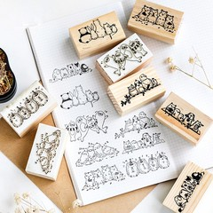 Lovely Row Series Boxes Wood Stamp Scrapbook DIY Photo Album Card Decoration Craft Wooden Rubber