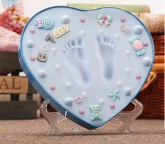 Blue And Pink Box Baby Souvenirs Hand &amp Footprint Makers Newborn Soft Modeling Clay Inkless Pr