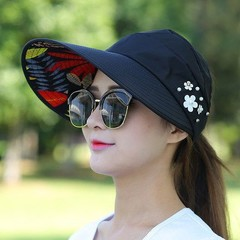 Hat Lady Summer Travel Folding Korean Version of The Sun Women Outdoor Hat Anti-ultraviolet Cotto