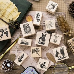 Story Of The Forest Gift Boxes Wood Stamp Scrapbook DIY Photo Album Card Decoration Craft Wooden