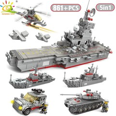 TOYS 861PCS 5in1 Army Warship Trucks tank Helicopter Building Blocks For Children Compatible Lego