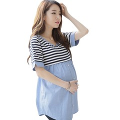 Clothes Breastfeeding Clothes Summer Maternity Nursing Wrap Top Short Sleeves Double Layer Blouse