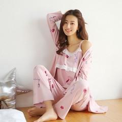 3PCS/Set Maternity Nursing Nightwear Summer Autumn Breastfeeding Pajamas Clothes for Pregnant Wom