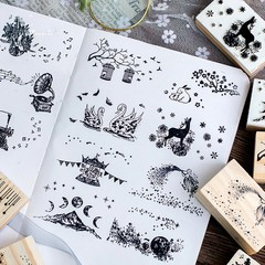 Ornate Chapters Series Boxes Wood Stamp Scrapbook DIY Photo Album Card Decoration Craft Wooden Ru