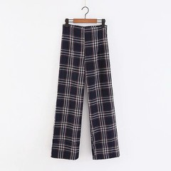 2018 autumn high waist plaid printing turn ups long loose Trousers female retro side zipper Leisu