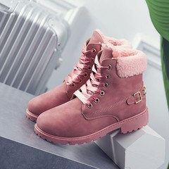 New Pink Women Boots Lace up Solid Casual Ankle Boots Martin Round Toe Women Shoes winter snow bo