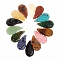 Natural Protect Stones Quartz Carved Feather Shaped Reiki Healing Crystals Pendants Diy Jewelry M