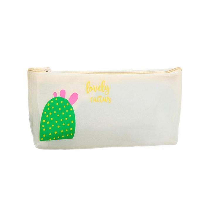 Pencil Case Canvas School Supplies Green Plant Cute Flowers PVC Plastic Pencil Cases Cosmetics Ma