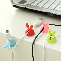Solid Candy Color Desk Set Rabbit Clip phone Cable Winder protector Earphone Ties Organizer Wire