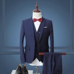 Men Suit Navy Blue Black Tuxedos 3 Piece Wedding Dress Suits Men Slim Social Formal Business Suit