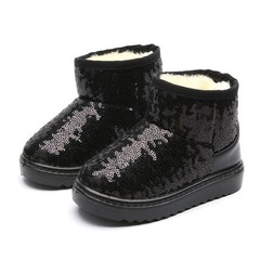 new childrens snow boots embroidered sequins long plush cotton shoes Silver black red blue girls