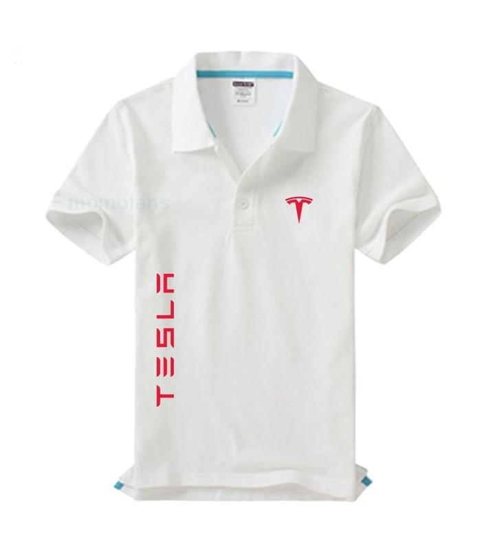 014f1c45 Men Polo Summer Tesla car logo Short Sleeve Cotton Polos Shirt S-3XL ...