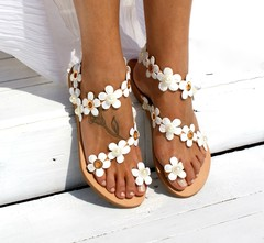 Gladiator Gladiator Sandals Women  Front Rear Strap Summer  Rome Flat Sandals Flower Solid Casual