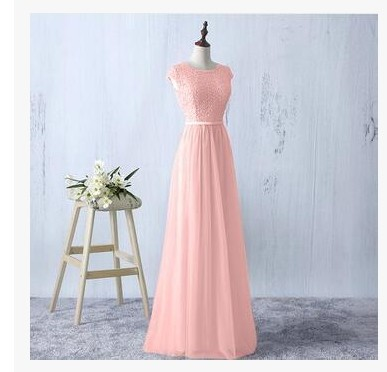 c7d682feb062b Pink Lace Bridesmaid Dresses Long Sheer Neck Vestido de madrinha longo A  Line Wedding Party Dress