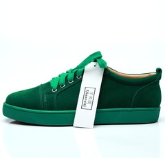 2018 Spring Men Green Suede Sneaker Lace-up Flat Low Top Shoes Men Runway Chaussures Hommes Plus