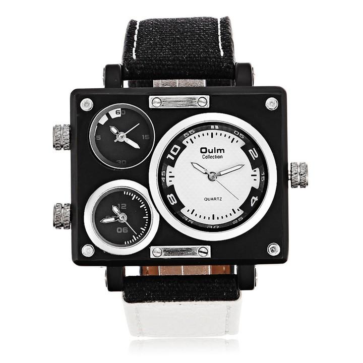 Toker,Watch Luxury Brand Man Fabric Srap Quartz-Watch Clock Male Multiple Time Zones Square Sport
