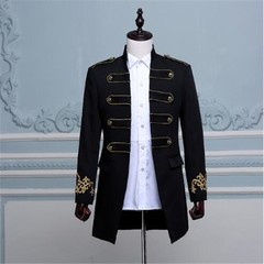 Double-breasted England Style Long Slim Fit Blazer Design Wedding Groom Suit Jacket Mens Stage We