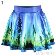 Womens Vintage High Waist Pleated Floral Short Mini Skirt Skater Flared 1 One Size