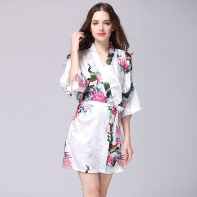 models simulation silk autumn nightgown Ladies spring summer sleeve ... 47ea3bab1017